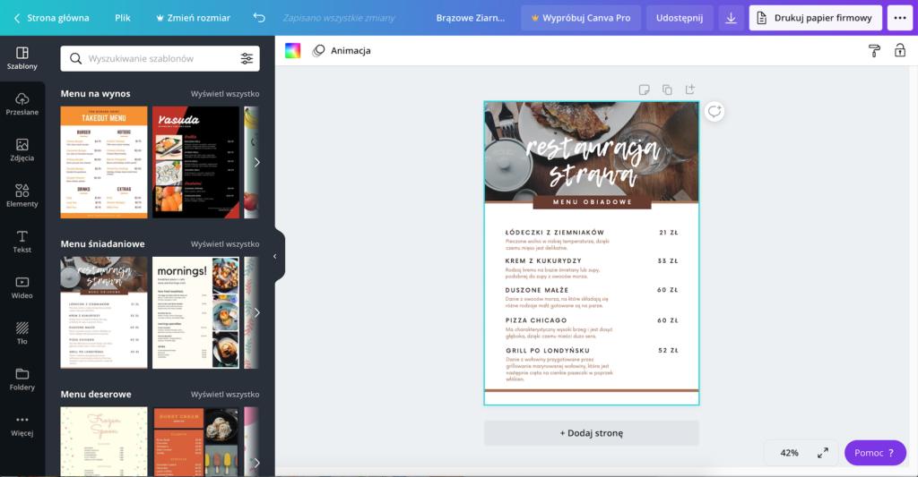 Darmowe narzędzie do tworzenia menu restauracji