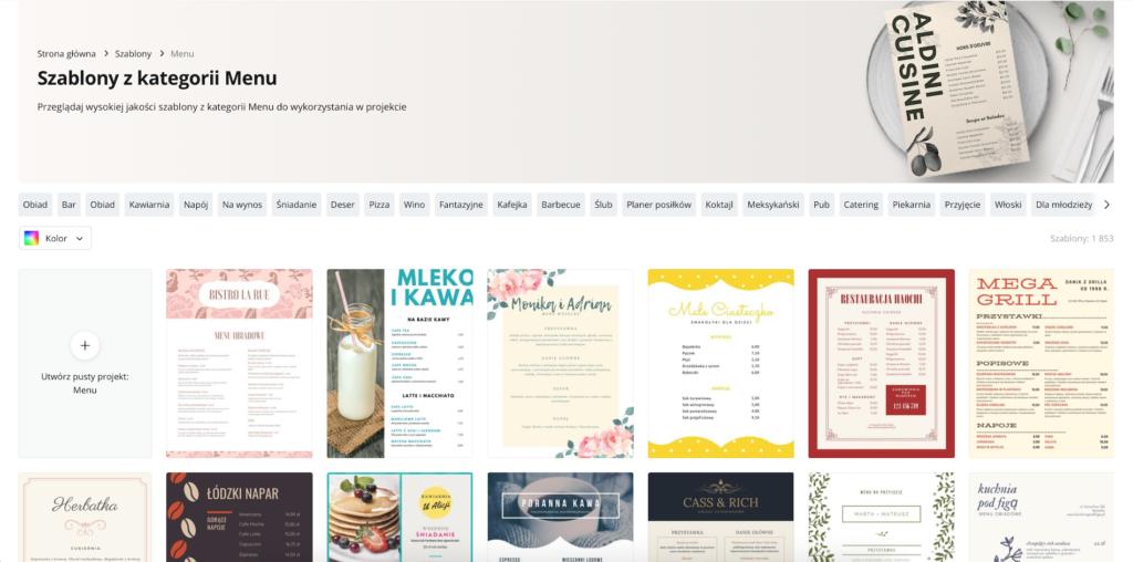 Canva i jej szablony menu - darmowe narzędzie do tworzenia menu restauracji